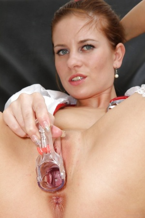 Fetish babe in uniform Keira is flooded with lust and desire