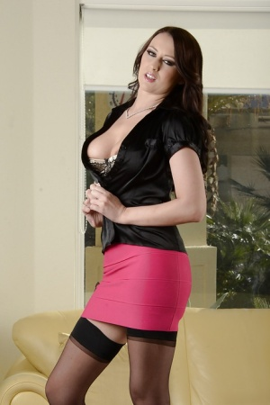 Precious babe in black stockings Alexis Grace gives seduction lesson