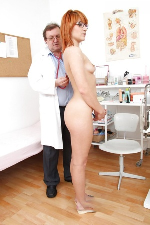 Seductive girl Lucy Bell is examined by nasty gentleman in glasses
