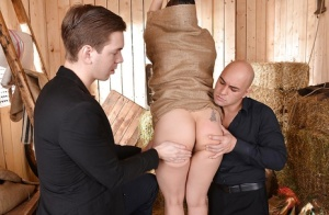 Asian BDSM lady Tigerr Benson is put inside a sack and deepthroated