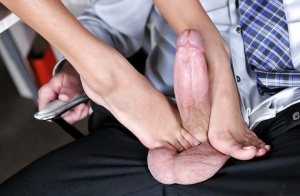 Clothed bitch Janice Griffith sucks this gorgeous cock really deep