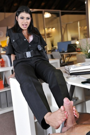 Busty police babe Miya Stone is pleasing her boss in the office