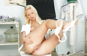 Uniformed babe with a gorgeous body Lilith Lee is playing with toys