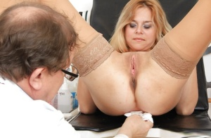 Blonde milf Karen is being checked by her horny doctor in glasses 86441864