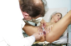 Hot slut Kristina Rud is having her pussy checked in close up 35718266
