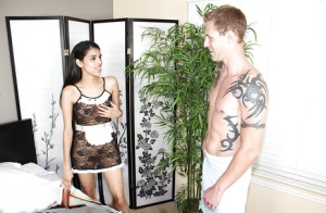 Latina maid gives a skilled handjob for that big piece of meat
