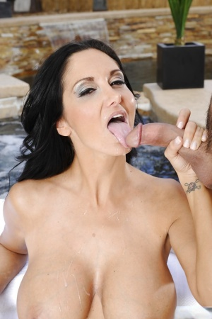 Brunette cougar milf Ava undressing and giving a sick blowjob