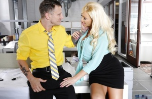 Blonde office girl with huge tits ready to be banged hardcore