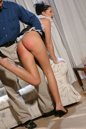 Sexy girl in fetish maid uniform gets her ripe butt spanked and caned 13242101