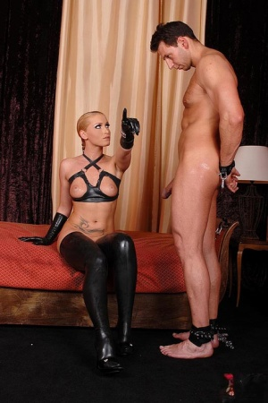 Blonde mistress Kathia Nobili is showing her slave how to fuck her