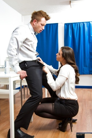 Office brunette slut Casey is a nasty babe who loves to suck cock