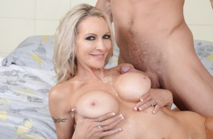 Awesome blonde milf with big tits Emma knows how to give a blowjob
