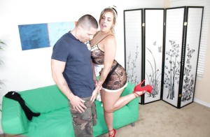 Nasty teen maid makes her boss satisfied with a good blowjob