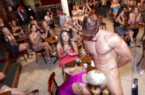 Deepthroat fuck of clothed ladies on a wild interracial party