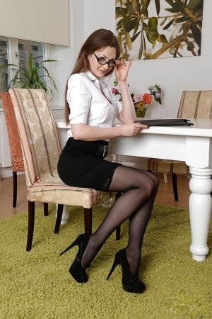 Clothed lady Tina Kay is revealing her body in glasses and stockings 15797220