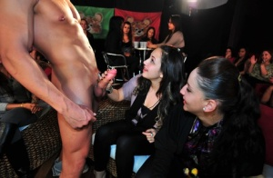 Big cock of a sexy stripper is pounding tight moths of clothed bitches