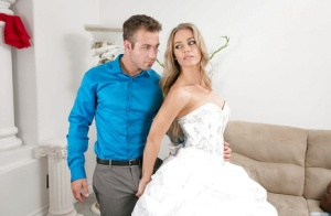 Blonde cowgirl Nicole Aniston has her ass fucked hardcore in wedding dress