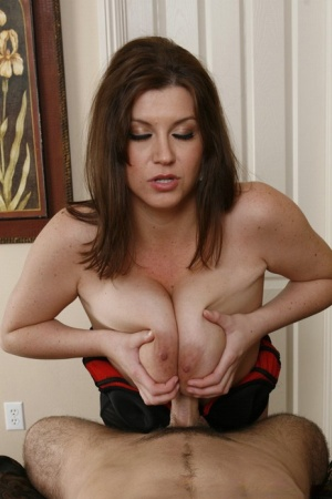 Busty wife in stockings Sara Stone fucks a cock with her pussy and tits