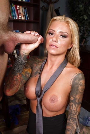 Britney Shannon swallows the big dong with smile on her cute face