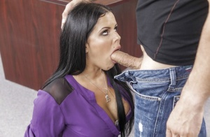 Tinny brunette with nice face is fucking and eating sperm from shoe
