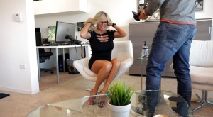 Blonde in glasses Sandra Otterson is giving a juicy sloppy blowjob