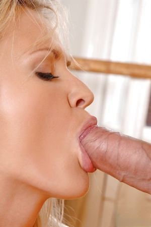 Slutty bleached cutie Andrea Francis is sucking and swallowing
