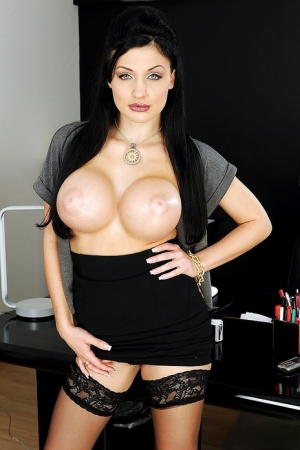 Big titted Aletta Ocean is posing in sexy lingerie in the office 20646949