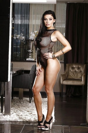 Pornstar babe Aletta Ocean strips off lingerie and showers naked
