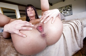 Topless Latina Rahyndee James spreading legs and showing creampie