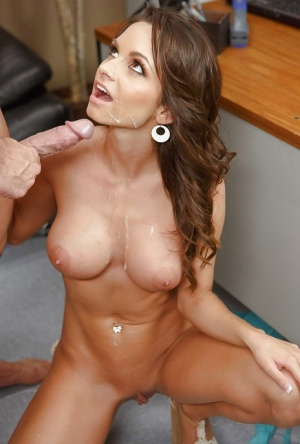 Pornstar with big tits Ashley Sinclair has sex on the office table