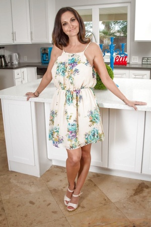 Amateur milf babe Ava Addams gets naked in the kitchen room alone