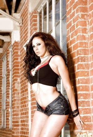 Brunette babe Gianna Michaels looking fine in high heels and shorts
