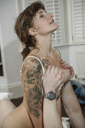 Hardcore banging with tattooed hottie Adreena Winters on a white bed 21597070