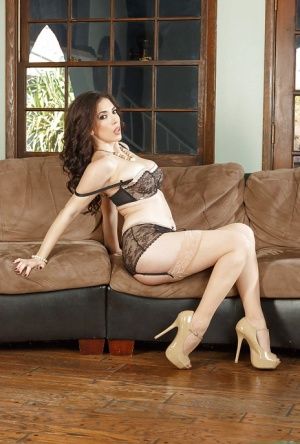 Big tit Milf babe Jelena Jensen posing in high heels and lingerie