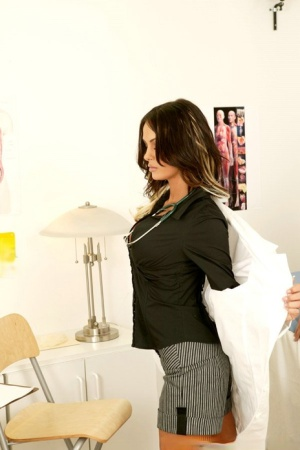 Sexy doctor Angelina Valentine takes off uniform to get a hard cock
