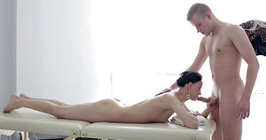 Skinny amateur chick Artemida blowing cock for cum swallowing session
