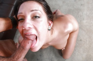 Teen slut Brooke Meyers gags while she attempts to deepthroat cock
