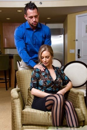 Blonde housewife Nicole Aniston receives massage before sucking dick