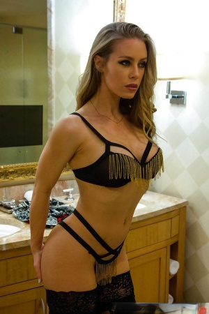 Hot blonde escort Nicole Aniston getting changed into hooker clothes 53405180