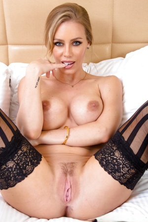 Blonde bombshell Nicole Aniston spreading her shaved asshole in heels 91291905