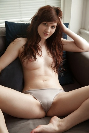 Cute redhead amateur Ellena Woods spreading her legs on her bed 19462717