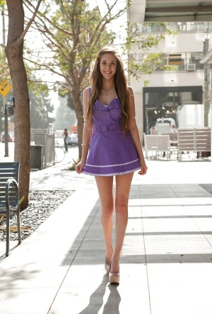 Adorable young slut Holly Lebrache flashing her panties in public 78634429
