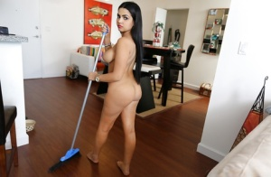 Busty Latina maid Ada Sanchez doing her housework in the nude