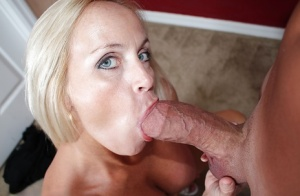 Cock loving blonde MILF swallows a monster white cock like a pro