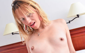 Juana Maria shows off her tiny petite body as she strips naked