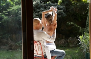 Beautiful young chick Doris Ivy taking outdoor anal sex from older man