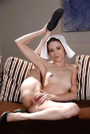 Teenage nun Alexa Nova flashing shaved upskirt pussy and small tits