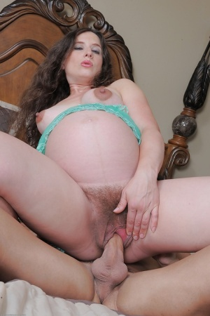 Pregnant mature slut Angela sucking on a dick and riding it hard