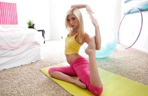Flexible blonde cutie Piper Perri doing yoga poses in spandex