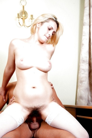 Short haired blonde amateur Dominica Phoenix giving a bj in white stockings